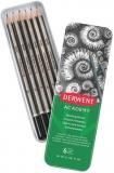 Set 6 creioane Grafit 3B-2H, cutie metalica Derwent Academy