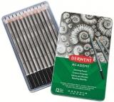 Set 12 creioane Grafit 6B-5H, calitate superioara, pentru artisti aspiranti, cutie metalica Derwent Academy