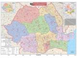 Harta Romania cu coduri postale 100 x 70 cm sipci lemn