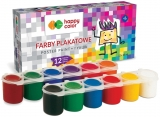 Acuarele tempera, 12 culori x 25 ml, Happy Color