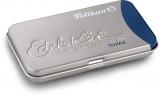 Caseta metalica Edelstein cu 6 patroane albastru Topaz Pelikan