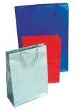 Pungi cadou hartie plastefiata 26 x 39,5 x 12 cm 500 bucati argintii