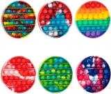 Jucarie senzoriala antistres Pop it Now and Flip it, Push Bubble model cerc curcubeu