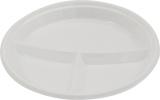 Farfurii tricompartimentate albe 100 buc/set