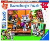 Puzzle Lumea Celor 44 De Pisici, 3X49 Piese Ravensburger