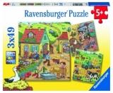 Puzzle Munca La Ferma, 3X49 Piese Ravensburger