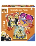 Puzzle Minions 3 In 1, 25/ 36/ 49 Piese Ravensburger