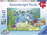Puzzle Animale Din Ocean, 2X12 Piese Ravensburger