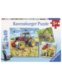 Puzzle Masinarii, 3X49 Piese Ravensburger
