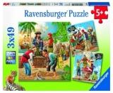 Puzzle Aventurile Piratilor, 3X49 Piese Ravensburger