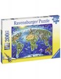 Puzzle Harta Lumii, 200 Piese Ravensburger