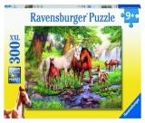 Puzzle Familie De Cai La Rau, 300 Piese Ravensburger