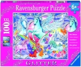 Puzzle Unicorni Cu Sclipici, 100 Piese Ravensburger