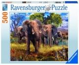 Puzzle Familie Elefanti, 500 Piese Ravensburger