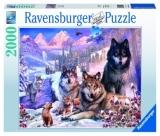 Puzzle Familie Lupi Iarna, 2000 Piese Ravensburger