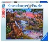 Puzzle Animale Salbatice La Rau, 3000 Piese Ravensburger
