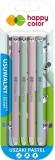 Roller gel cu rescriere, 0.5 mm, albastru, 4 buc/set, Ears Pastel, Happy Color