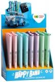 Roller gel cu rescriere, 0.5 mm, albastru, Ears Pastel, Happy Color, display 40 de bucati