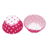 Set Forme de copt din Hartie Pois Fuxia 48 buc/Set Big Party