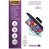 Folii laminare 80 microni Fellowes A4 glossy, Enhance 100 coli/top