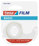 Banda adeziva 10 m x 15 mm transparenta Basic cu dispenser Tesa