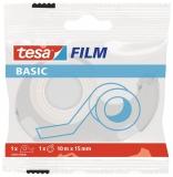 Banda adeziva Basic transparenta 10 m x 15 mm + dispenser Tesa