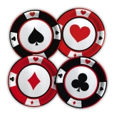 Farfurii 18 cm Mix Poker 8 buc/Set Big Party