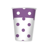 Pahare 200 ml Pois Violet 10 buc/Set Big Party