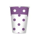 Pahare 200 ml Pois Violet 10 buc/Set Big Party