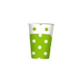 Pahare 80 ml Pois Verde 10 buc/Set Big Party