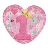 Farfurii in forma de inima 20 x 20 cm Prima Aniversare Roz 10 buc/Set Big Party