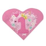 Servetele in forma de inima 33 x 33 cm Prima Aniversare Roz 20 buc/Set Big Party