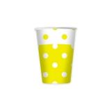 Pahare 80 ml Pois Galben 10 buc/Set Big Party