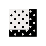 Servetele 25 x 25 cm Pois Negru 20 buc/Set Big Party