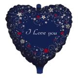 Balon Mylar Inima Albastra 45 cm Love Message Big Party