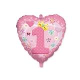 Balon Mylar in forma de Inima 45 cm Prima Aniversare Roz Big Party
