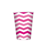 Pahare 200 ml Zig Zag Fuxia 8 bucati/set Big Party