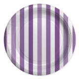 Farfurii 24 cm Dungi Violet 8 buc/Set Big Party