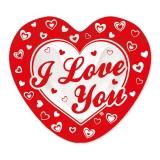 Farfurii 20 cm in forma de Inima I LOVE YOU 8 buc/Set Big Party