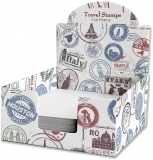 Cub hartie + Cutie carton, 9 x 9 cm, Travel Stamps