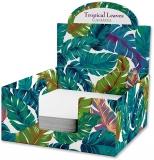 Cub hartie + Cutie carton, 9 x 9 cm, Tropical Leaves