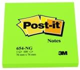 Notite adezive verzi neon Post-It  76 mm x 76 mm 100 file/bloc 3M