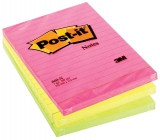 Notite adezive neon liniate Post-It® 102 x 152 mm 3M