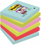 Notite adezive Post-it ® Super Sticky Miami 6 buc/set 76 x 76 mm 90 file/buc mix culori 3M