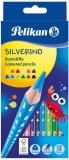 Creioane colorate Silverino, 3 mm, 12 culori/set Pelikan