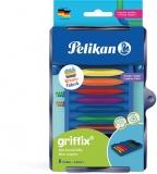Creioane cerate Griffix, in tavita pentru set Kreativ, 8 culori/set, Pelikan