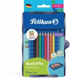 Creioane colorate solubile in apa, 8 culori/set, in tavita pentru set Kreativ, Pelikan