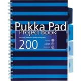 Caiet cu spira si separatoare B5, 100 file, matematica, Project Book Navy Pukka Pads