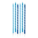 Lumanare Creion Dungi Turcoaz 15 cm cu suport 6 buc/Set Big Party