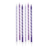 Lumanare Creion Dungi Violet 15 cm cu suport 6 buc/Set Big Party